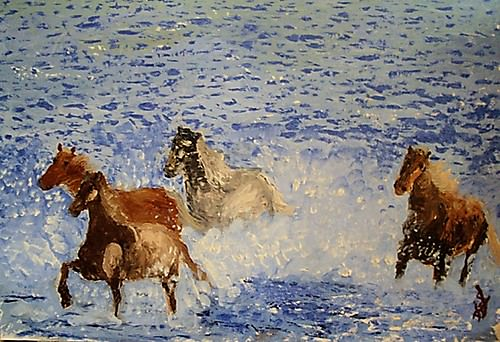 Galloping from the Sea - Impressionist