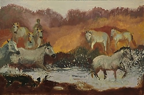 Horses by the Mountain Stream