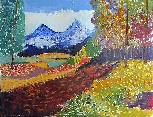 Peaceful Trail to the Mountains - Impressionist