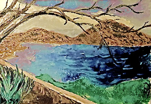 Tree over the Blue Bay - Impressionist
